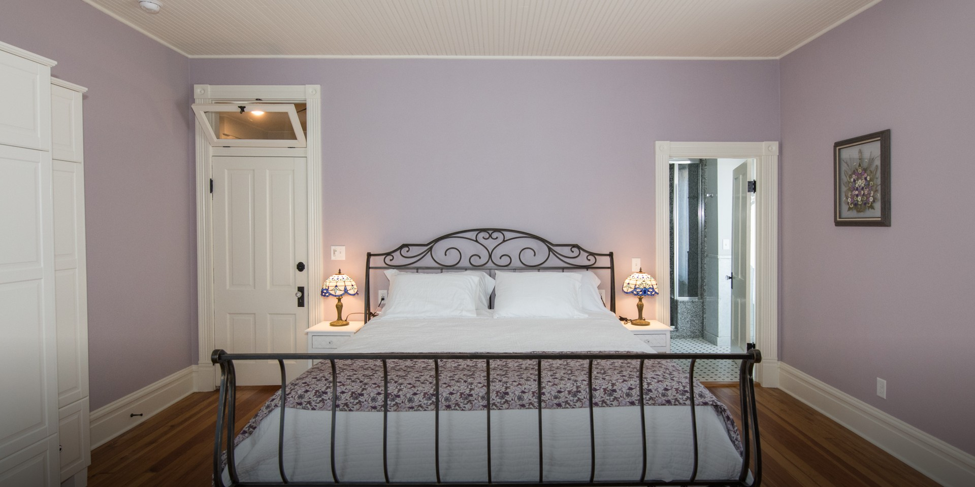 The Lilac guest room with king bed.